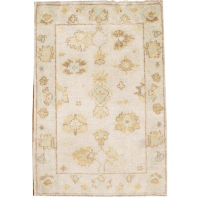 Turkish Oushak Hand Knotted Wool Ivory Area Rug