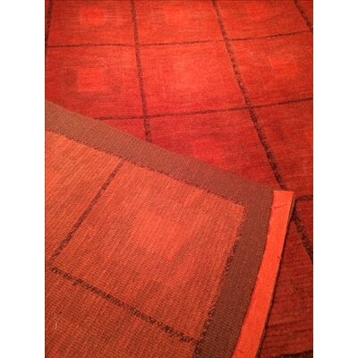 Tibetan Modern Hand Knotted Wool Red Area Rug