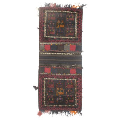Persian Vintage Saddlebag Hand Knotted Wool Red/Gray Area Rug