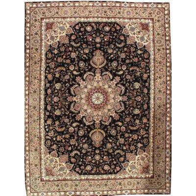 Tabriz Sino Fine Hand Knotted Wool Black/Beige Area Rug