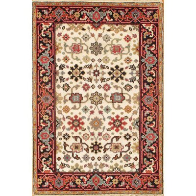Mahal Hand Knotted Wool Ivory/Navy Area Rug
