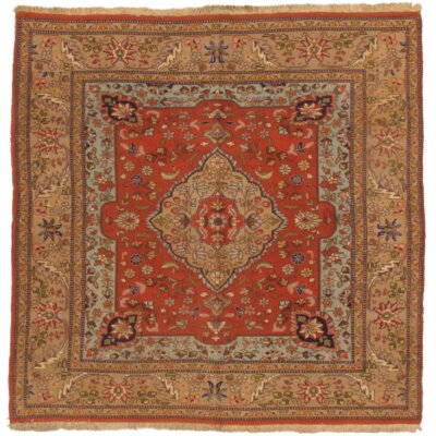 Persian Taba Tabriz Hand Knotted Wool Orange/Beige Area Rug