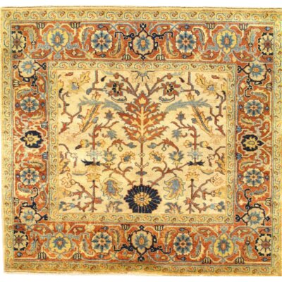 Indo Serapi Fine Hand Knotted Wool Ivory/Rust Area Rug
