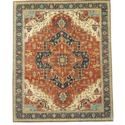 Indo Serapi Fine Hand Knotted Wool Rust/Navy Area Rug