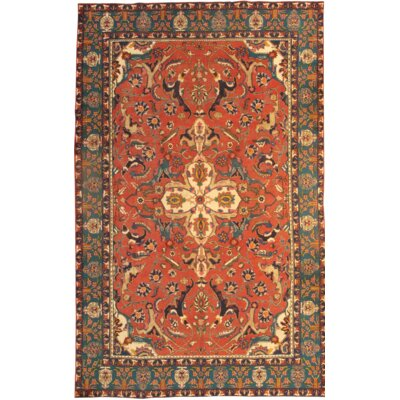 Persian Tabriz Hand Knotted Wool Rust/Navy Area Rug