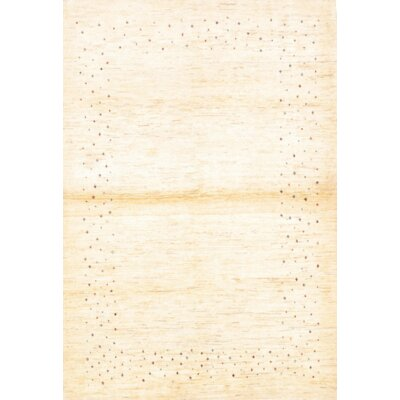 Persian Original Gabbeh Hand Knotted Wool Ivory Area Rug Rug Size: Rectangle 5 x 65