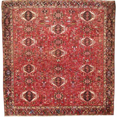 Persian Karajeh Hand Knotted Wool Red Area Rug