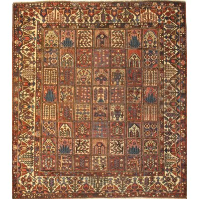 Persian Bakhtiari Garden Hand Knotted Wool Brown Area Rug