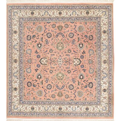 Kashan Hand Knotted Wool Rose/Ivory Area Rug