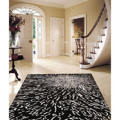 Tibetan Hand Knotted Wool Black/Ivory Area Rug