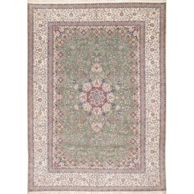 Persian Nain Habibian Hand Knotted Wool Green/Beige Area Rug
