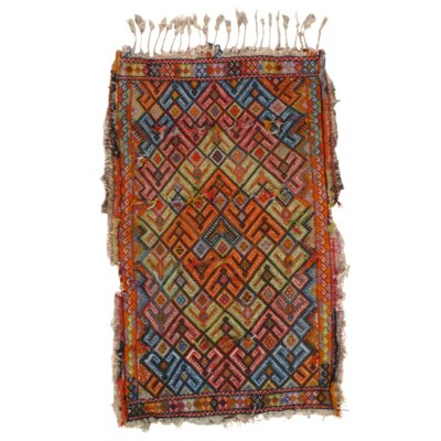 Turkish Sumak Hand-Knotted Wool Red/Blue Area Rug
