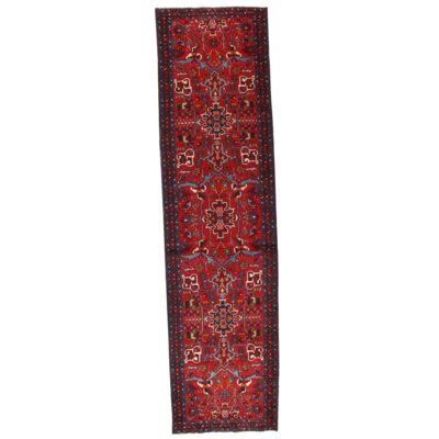 Persian Karajeh Heriz Hand-Knotted Wool Red Area Rug