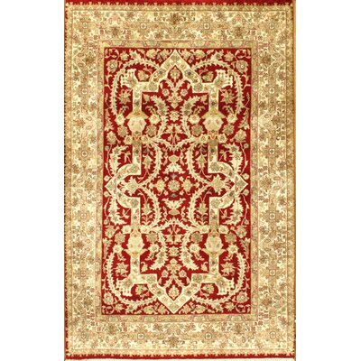 Tabriz Hand-Knotted Wool Red/Ivory Area Rug