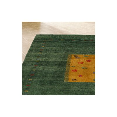 Gabbeh Hand Knotted Wool Green Area Rug