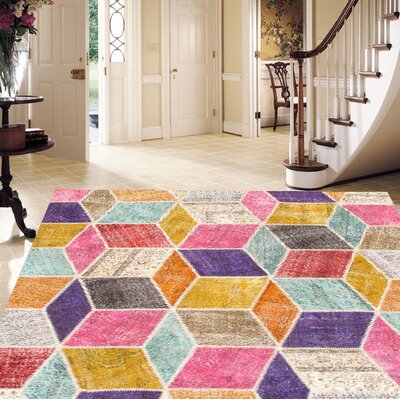 Patchwork Hand Knotted Wool Pink/Purple Area Rug