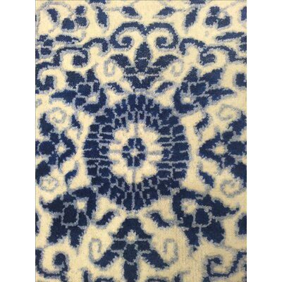 Modern Hand Knotted Wool Ivory/Blue Area Rug