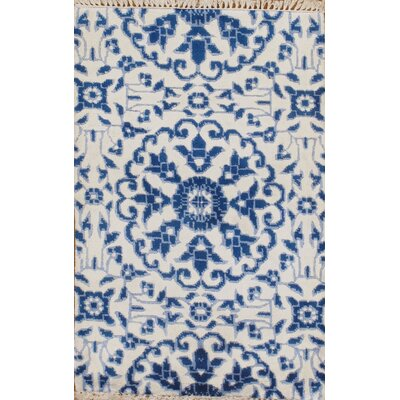 Modern Hand-Knotted Silk Ivory/Blue Area Rug