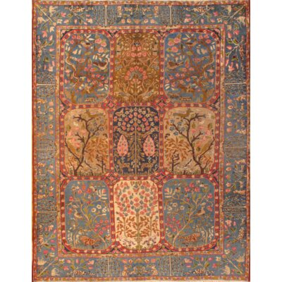 Antique Persian Kerman Hand-Knotted Cotton Rust Area Rug