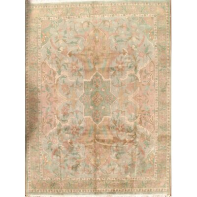 Pastel Colors Tabriz Hand Knotted Wool Light Green Area Rug