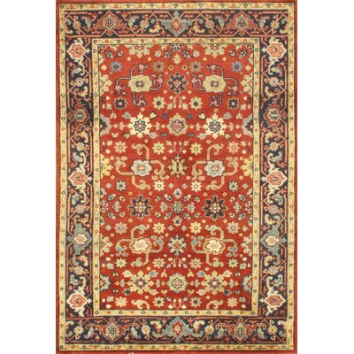Persian Design Mahal Hand Knotted Wool Rust Area Rug