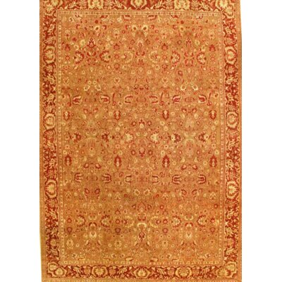 Fine Agra Hand-Knotted Wool Camel Area Rug
