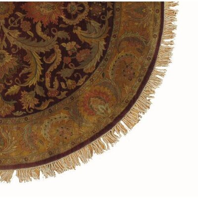 Fine Agra Hand-Knotted Wool Brown Area Rug