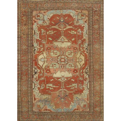 Antique Serapi Hand-Knotted Wool Rust/Ivory Area Rug