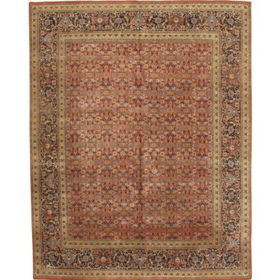 Tabriz Herati Design Hand Knotted Wool Rust Area Rug