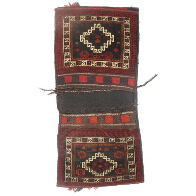 Persian Saddlebag Vintage Hand Knotted Wool Red/Ivory Area Rug
