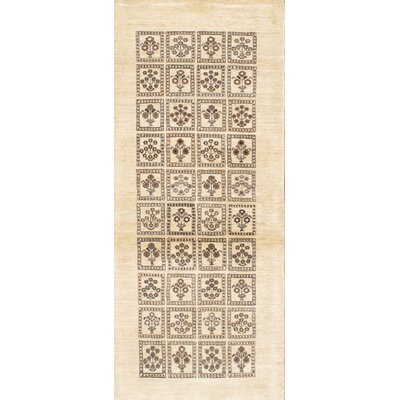 Gabbeh Modern Hand-Knotted Wool Ivory Area Rug