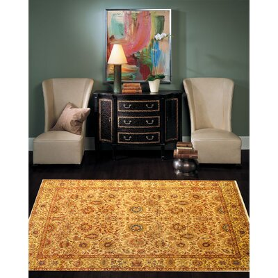 Agra Hand-Knotted Wool Gold Area Rug