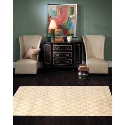 Moroccan Modern Hand-Knotted Wool Ivory Area Rug Rug Size: Rectangle 6 x 9