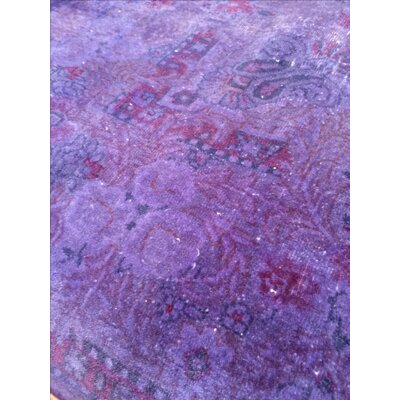 Vintage Overdyed Hand-Knotted Wool Purple Area Rug
