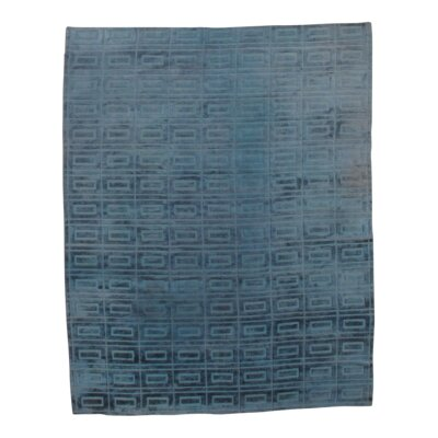 Modern Hand-Knotted Silk Blue Area Rug