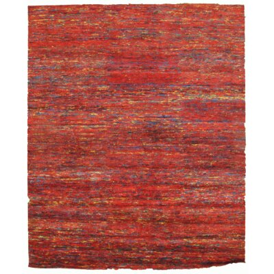 Modern Hand-Knotted Silk Red Area Rug