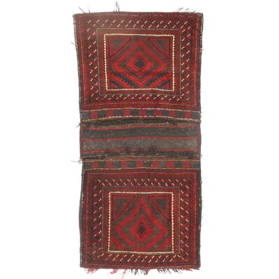 Persian Vintage Saddlebag Hand-Woven Wool Red Area Rug