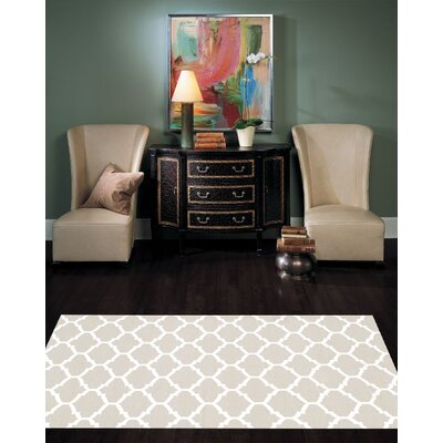 Trellis Modern Hand Woven Wool Gray/Ivory Area Rug