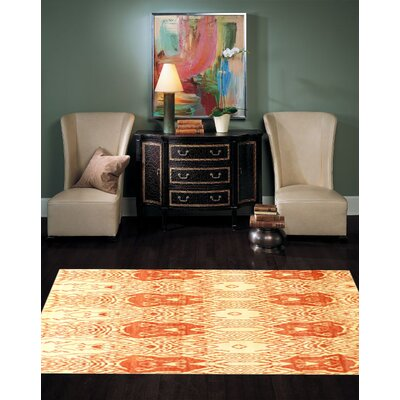Modern Hand-Knotted Wool Ivory/Rust Area Rug