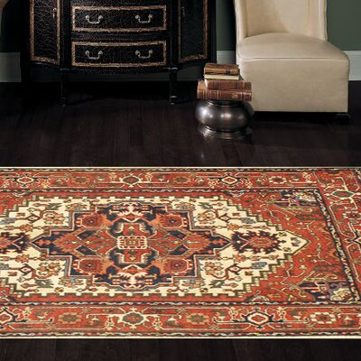 Indian Serapi Hand-Knotted Wool Rust Area Rug