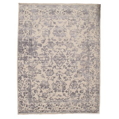 Modern Hand-Knotted Silk Ivory Area Rug