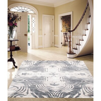 Modern Hand-Knotted Silk Ivory/Gray Area Rug