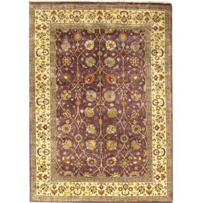 Fine Indo Tabriz Hand-Knotted Wool Purple/Ivory Area Rug