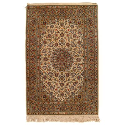 Persian Hand-Knotted Wool Beige Area Rug