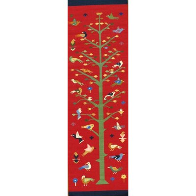 Southwestern Reversible Hand-Knotted Wool Red Area Rug Rug Size: Runner 25 x 6