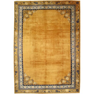 Indo Peking Hand-Knotted Wool Gold/Ivory Area Rug