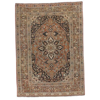 Persian Antique Tabriz Hand-Knotted Wool Rust/Ivory Area Rug
