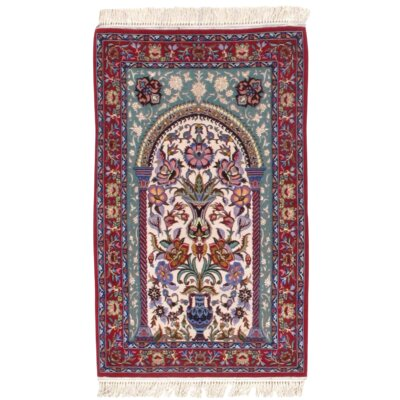 Persian Isfahan Mehrab Hand-Knotted Wool Ivory/Red Area Rug