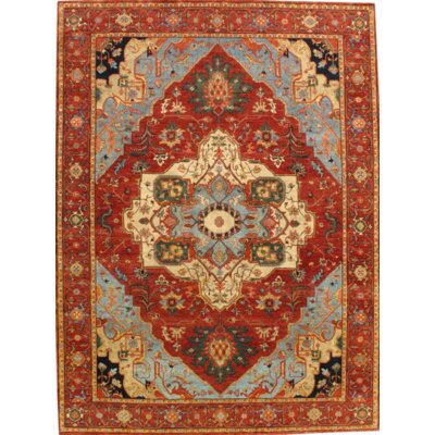 Fine Indo Serapi Hand-Knotted Wool Rust Area Rug