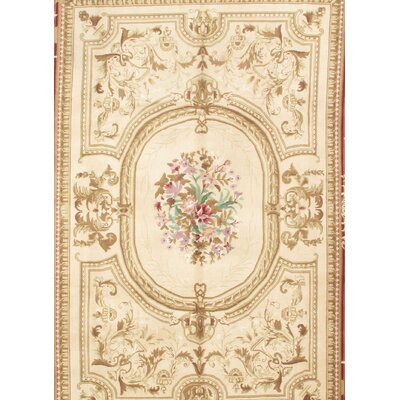 Sino Savonnerie Hand-Knotted Wool Ivory/Rust Area Rug